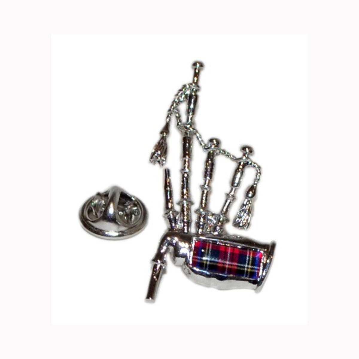 Pin Badge Bagpipes Tartan Sparkle Gift