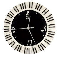 Wall Clock Round Keyboard & Music Symbols Sparkle Gift