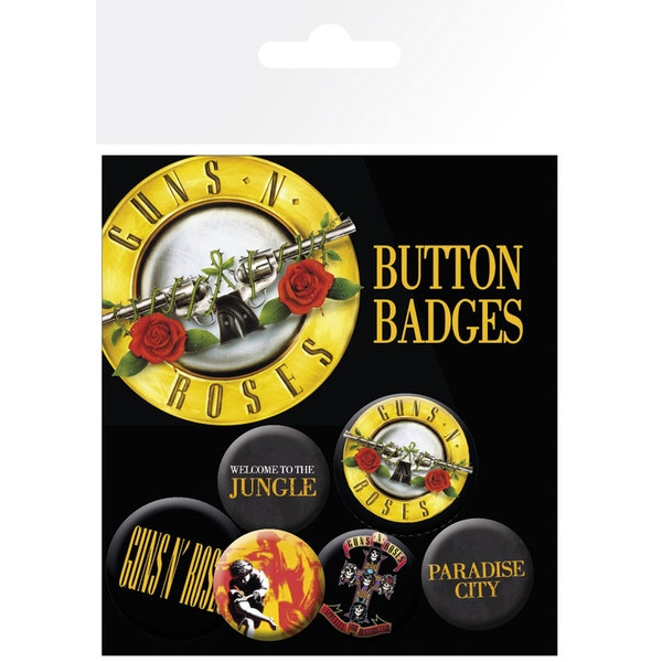 Guns N Roses Badge Pack Logos Set of 6 Sparkle Gift