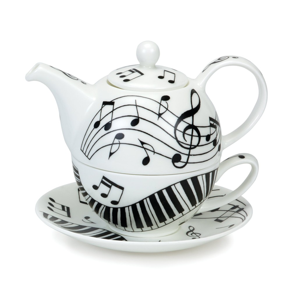 Dunoon Tea For One Set Ebony & Ivory Sparkle Gift