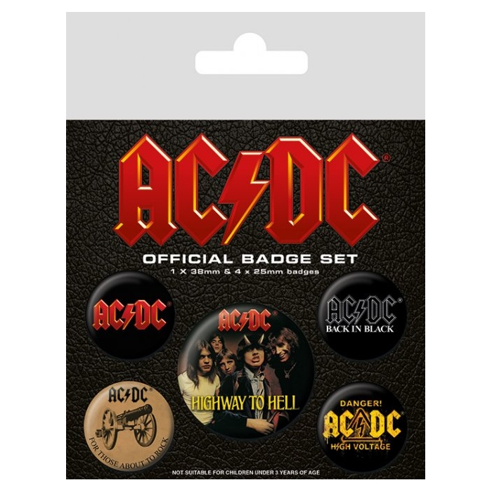 AC/DC  Badge Pack Logo Set of 5 Sparkle Gift