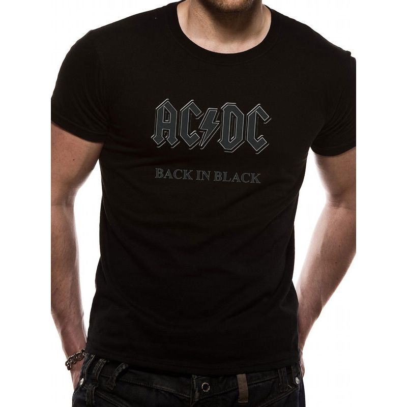AC/DC  T Shirt Back In Black Mens Medium Sparkle Gift