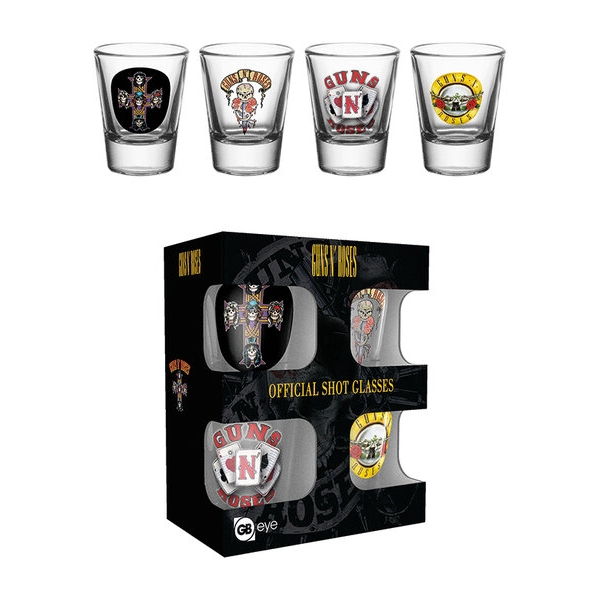 Guns N Roses Shot Glasses Set of 4 Sparkle Gift