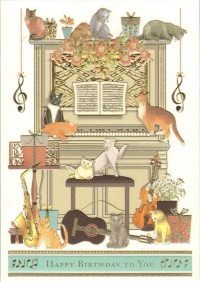 Greetings Card Birthday Cats On Piano Mac Classic Sparkle Gift