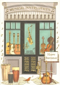 Greetings Card Birthday Music Shop Mac Classic Sparkle Gift
