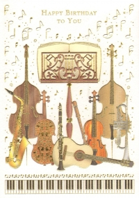 Greetings Card Birthday Music Stand & Instruments Sparkle Gift