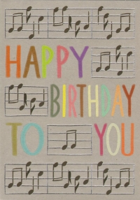 Greetings Card Birthday Music Staves Rough Eleganc Sparkle Gift