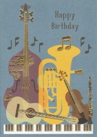 Greetings Card Birthday Music Instruments Clearwat Sparkle Gift
