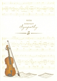 Greetings Card Sympathy Violin Ivory White Sparkle Gift