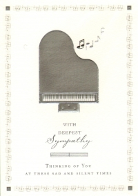 Greetings Card Sympathy Piano Ivory White Sparkle Gift
