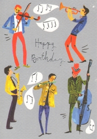 Greetings Card Birthday Jazz Ensemble Lemon Lou Sparkle Gift