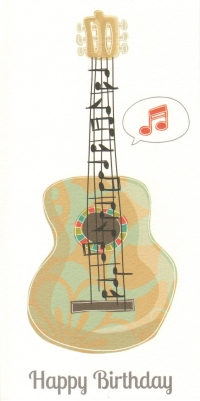 Greetings Card Birthday Guitar Color Parade Sparkle Gift