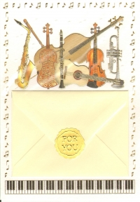 Greetings Card Gift Card Musical Insts Wish & Give Sparkle Gift