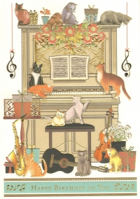 Greetings Card Birthday Cats On Piano Mac Class Xl Sparkle Gift