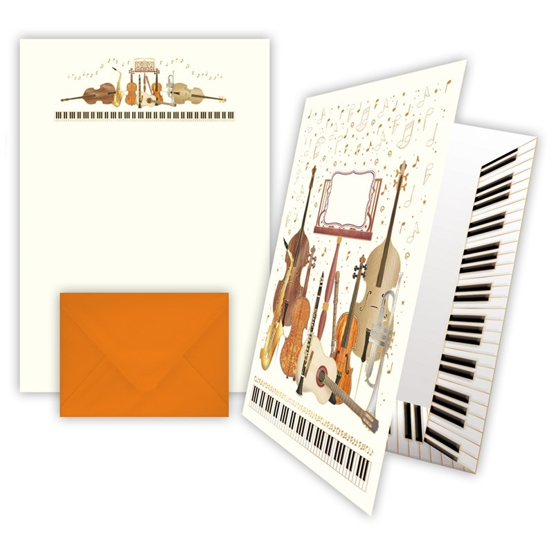 Writing Paper Music Stand & Insts +keepsake Folder Sparkle Gift