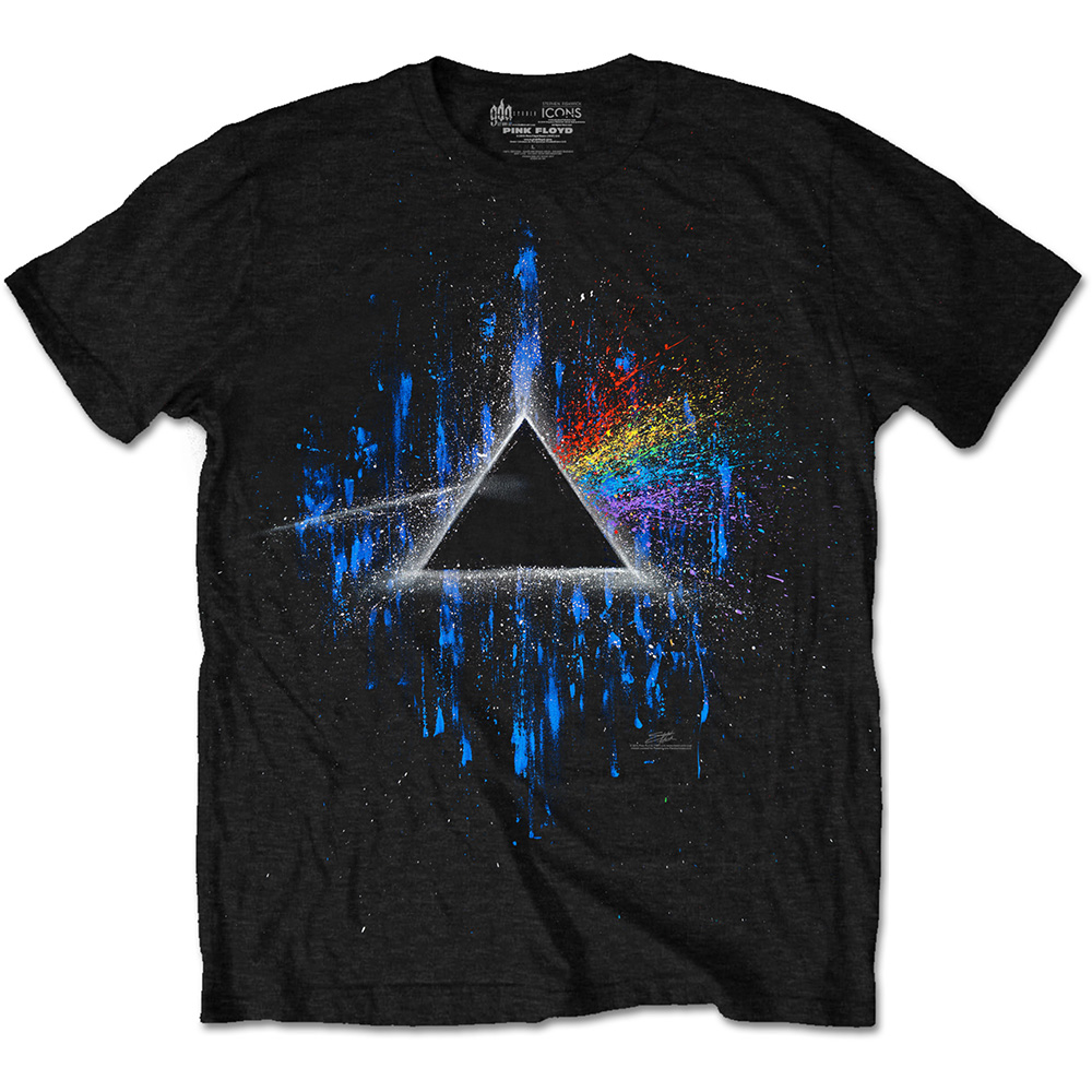 Pink Floyd T Shirt Dark Side Blue Splatter Mens S Sparkle Gift