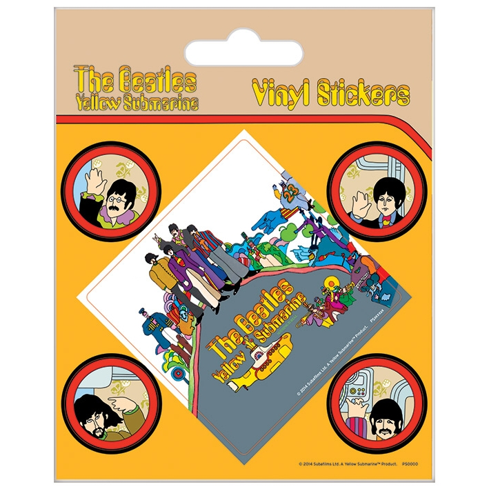 Beatles Stickers Yellow Submarine Set of 5 Sparkle Gift