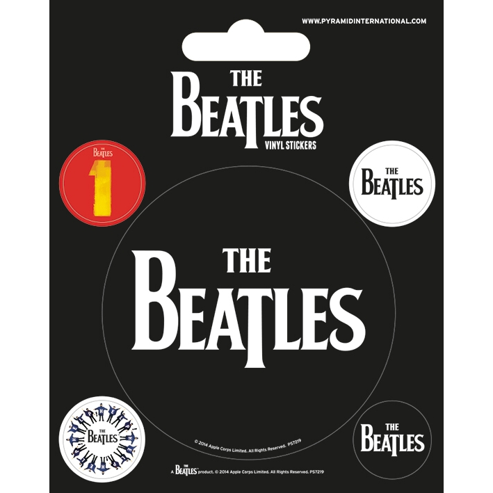 Beatles Stickers Black Set of 5 Sparkle Gift