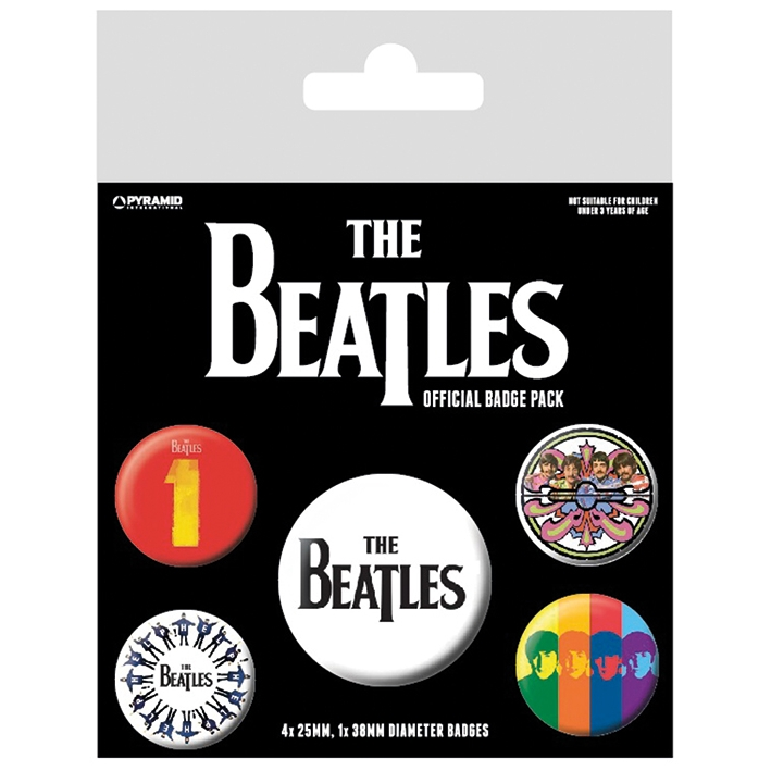 Beatles Badge Pack Black Set of 5 Sparkle Gift