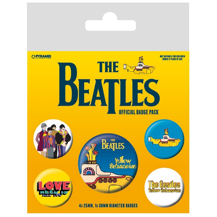 Beatles Badge Pack Yellow Submarine Set of 5 Sparkle Gift