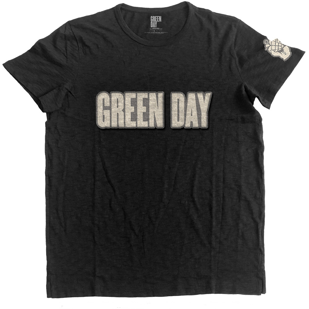 Green Day T Shirt Logo & Grenade Mens Ex L                Sparkle Gift