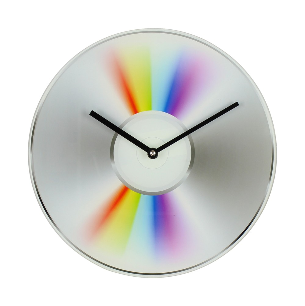 Musicology Glass Wall Clock CD 30cm Sparkle Gift