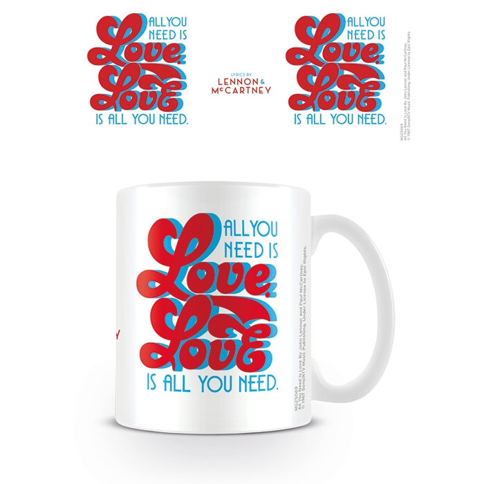 Beatles Boxed Mug Lyrics All You Need Is Love Sparkle Gift