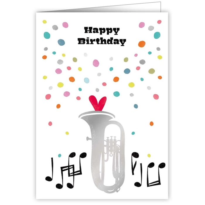 Greetings Card Happy Birthday Brass Notes Sparkle Gift