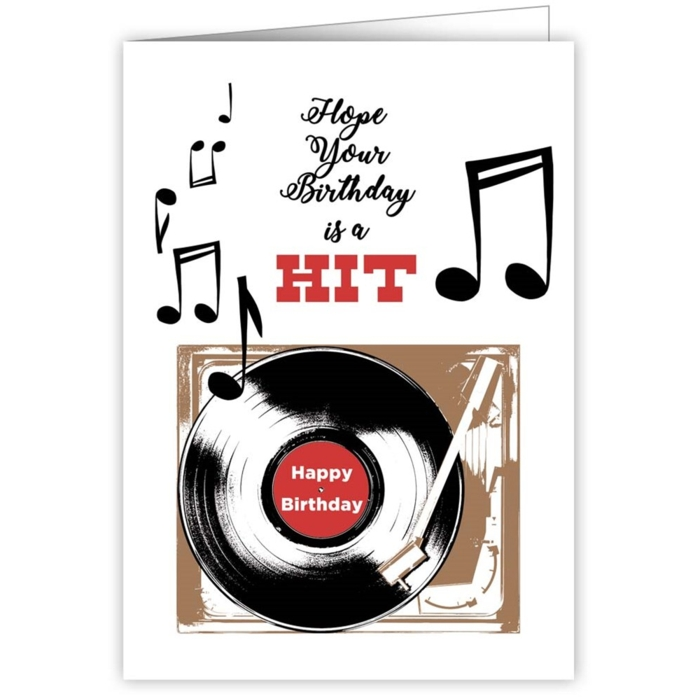 Greetings Card Happy Birthday Hit Record Sparkle Gift