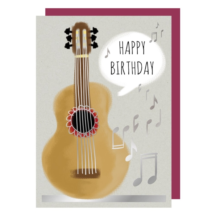 Greetings Card Birthday Guitar Rough Elegance Sparkle Gift