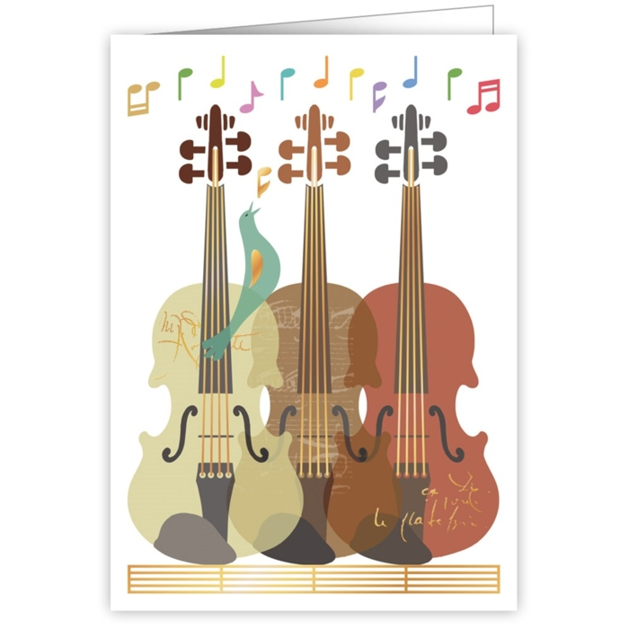 Greetings Card Three Violins Sparkle Gift