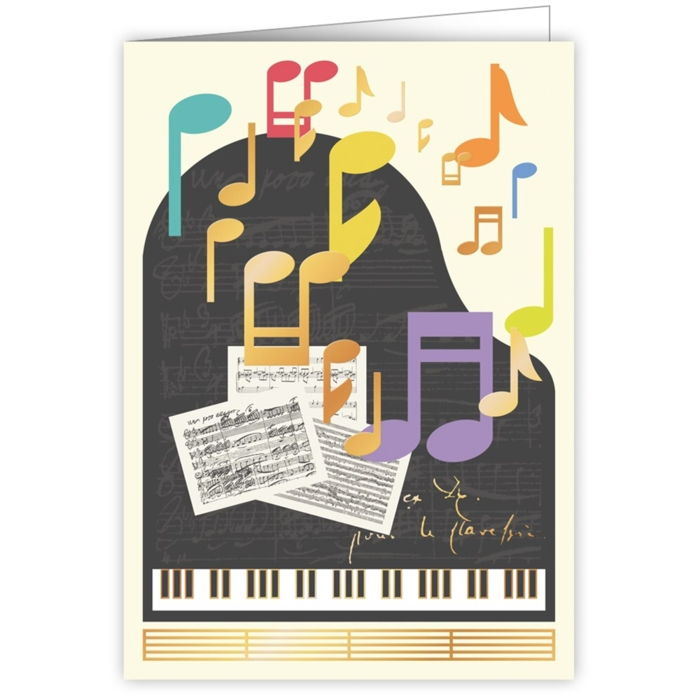 Greetings Card Piano Notes Sparkle Gift