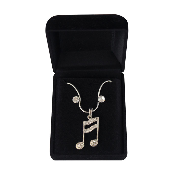 Necklace & Earrings Musical Note Semiquaver Sparkle Gift