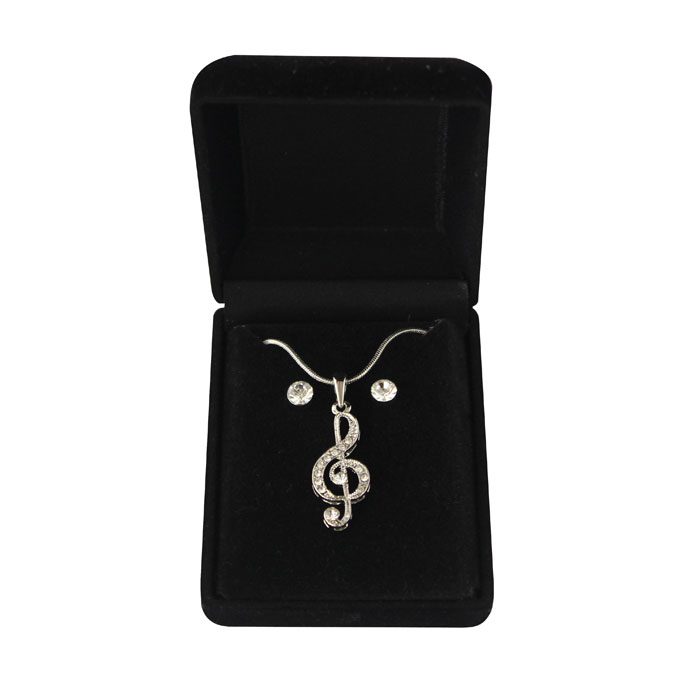 Necklace & Earrings Musical Note Treble Clef Sparkle Gift