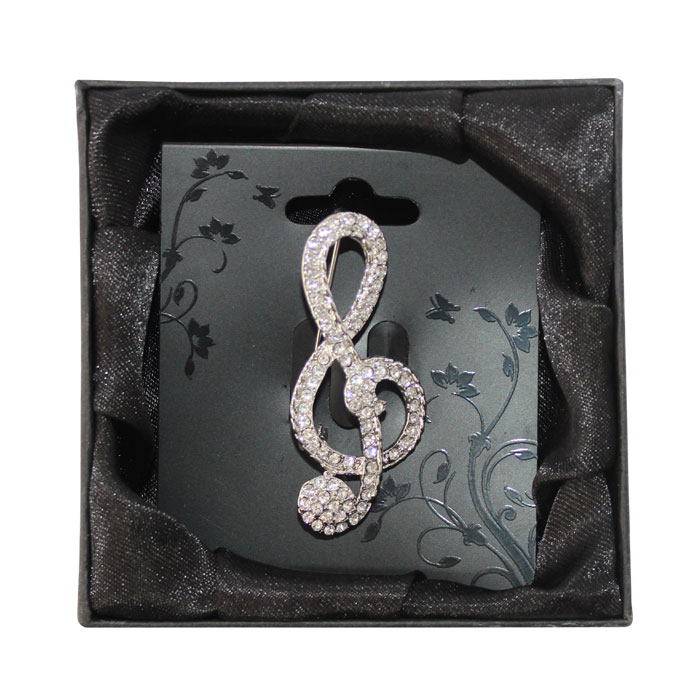 Brooch Large Diamante Treble Clef Boxed Sparkle Gift