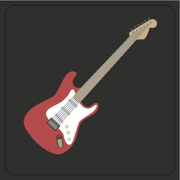 Rock Club Coaster Red Guitar Sparkle Gift