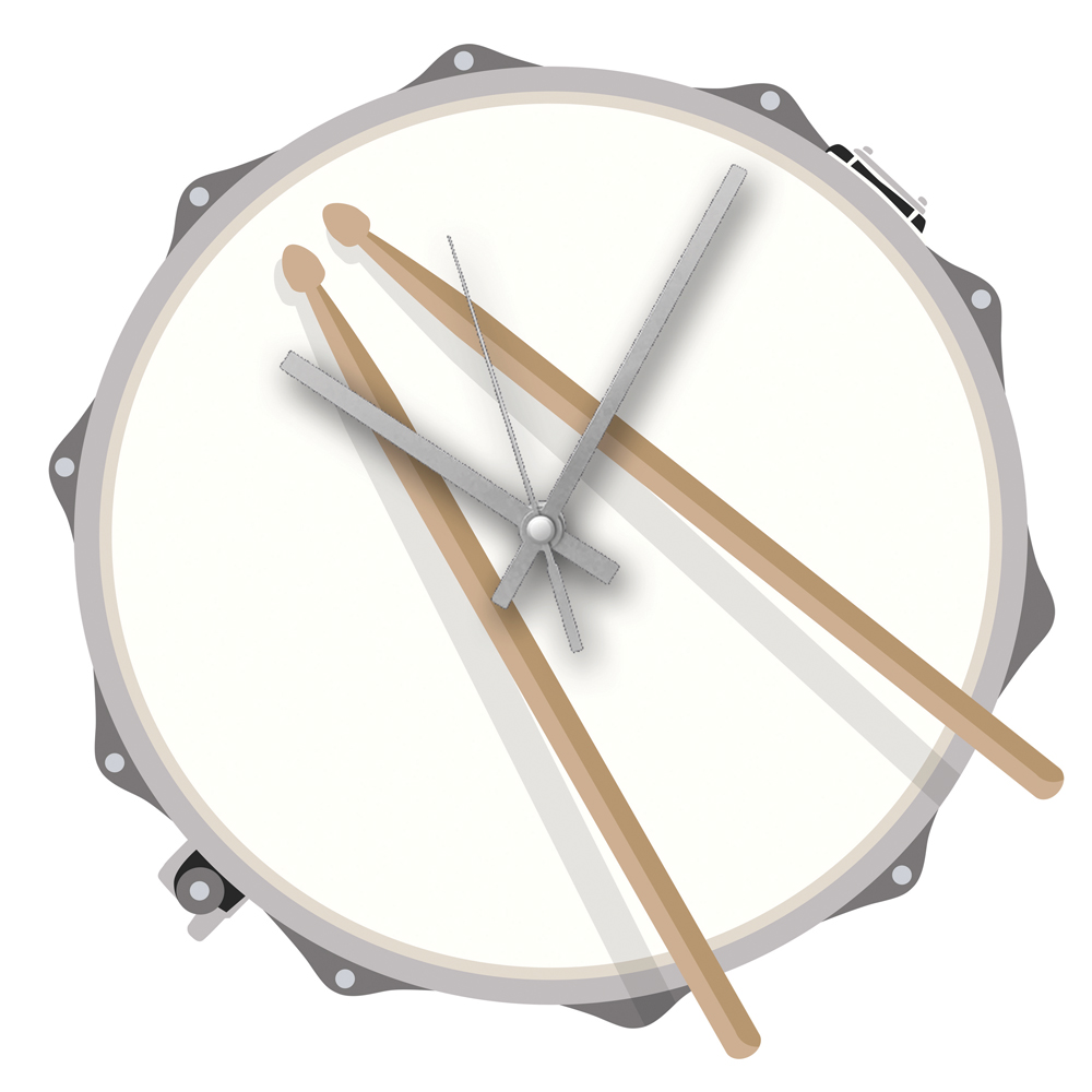 Rock Club Clock Drum Sparkle Gift