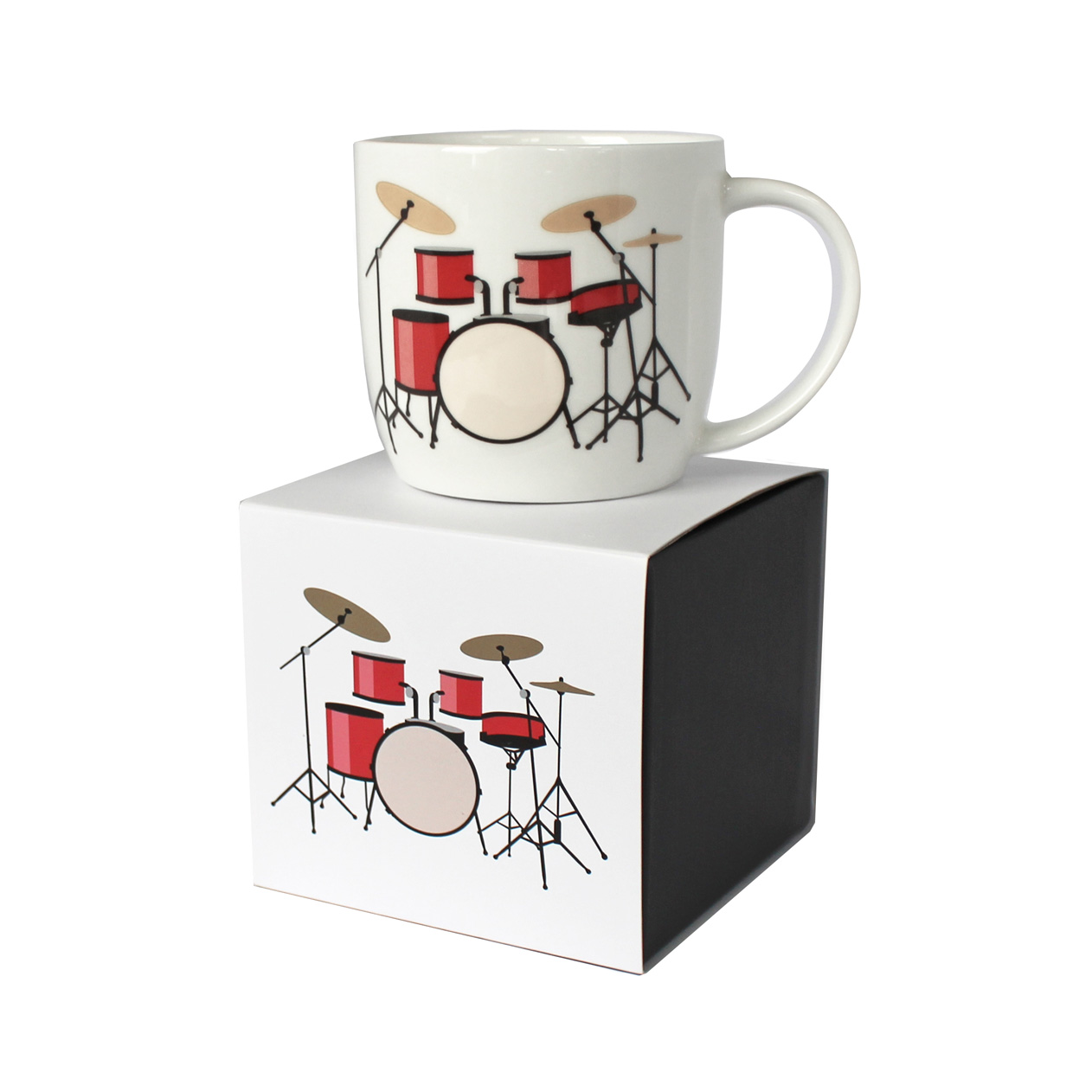 Rock Club Boxed Mug Drum Kit White Sparkle Gift