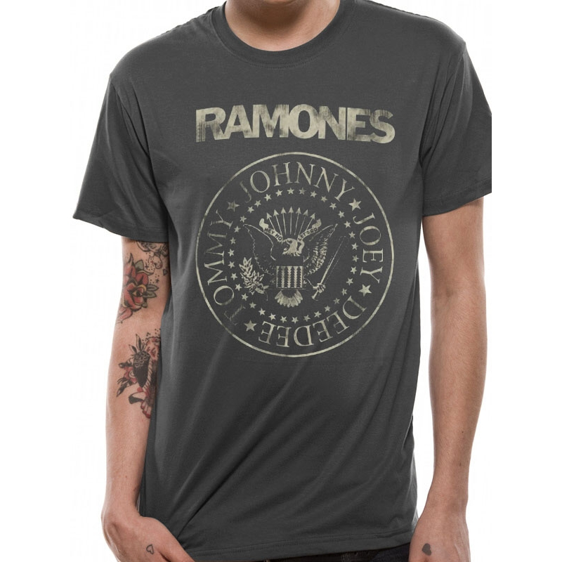 Ramones T Shirt Distressed Crest Mens Large Sparkle Gift