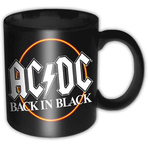 AC/DC  Boxed Mug Back In Black Circle Sparkle Gift