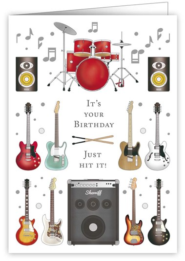 Greetings Card Happy Birthday Musical Instruments Sparkle Gift