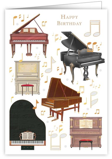 Greetings Card Happy Birthday Piano Sparkle Gift