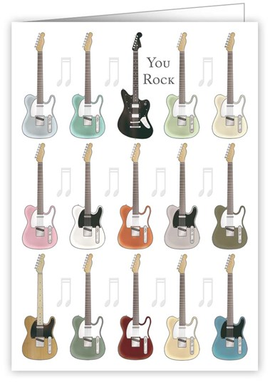 Greetings Card You Rock Guitars Sparkle Gift