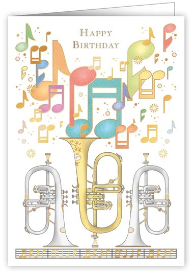 Greetings Card Happy Birthday Music Sparkle Gift