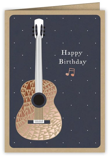 Greetings Card Copper Guitar Sparkle Gift