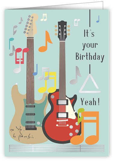 Greetings Card Guitars Sparkle Gift