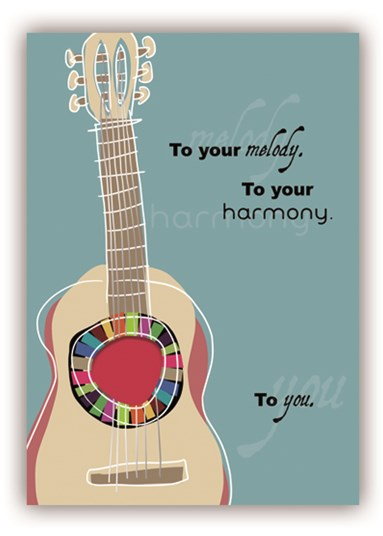Greetings Card Guitar Harmony Sparkle Gift