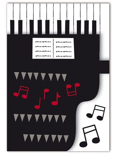 Greetings Card Piano Notes 3d Die Cut Sparkle Gift