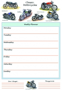 Weekly Planner Classic Motorcycles A4 Sparkle Gift