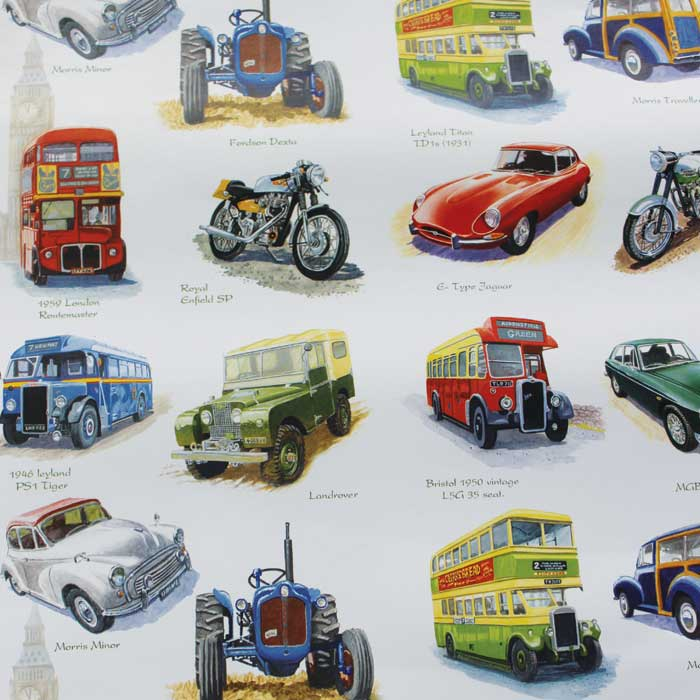 Wrapping Paper Nostalgic Vehicles X 12 Sheets                Sparkle Gift